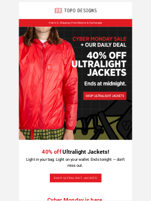 CYBER MONDAY SALE + OUR DAILY DEAL: 40% off Ultralight Jackets