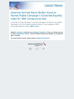 American Airlines Earns Perfect Score on Human Rights Campaign's Corporate Equality Index for 18th Consecutive Year