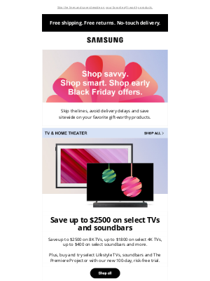 Samsung - loremipsumdolor, there is still time to shop early Black Friday offers.