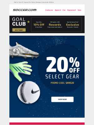 SOCCER - Ends tomorrow! Extra 20% off all select gear!