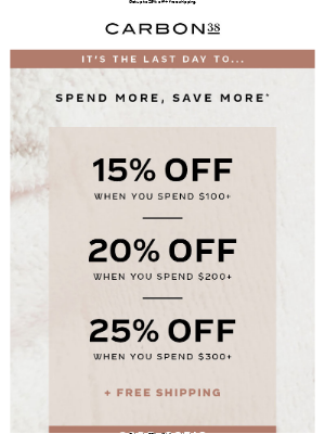 LAST DAY to SHOP OUR SALE!