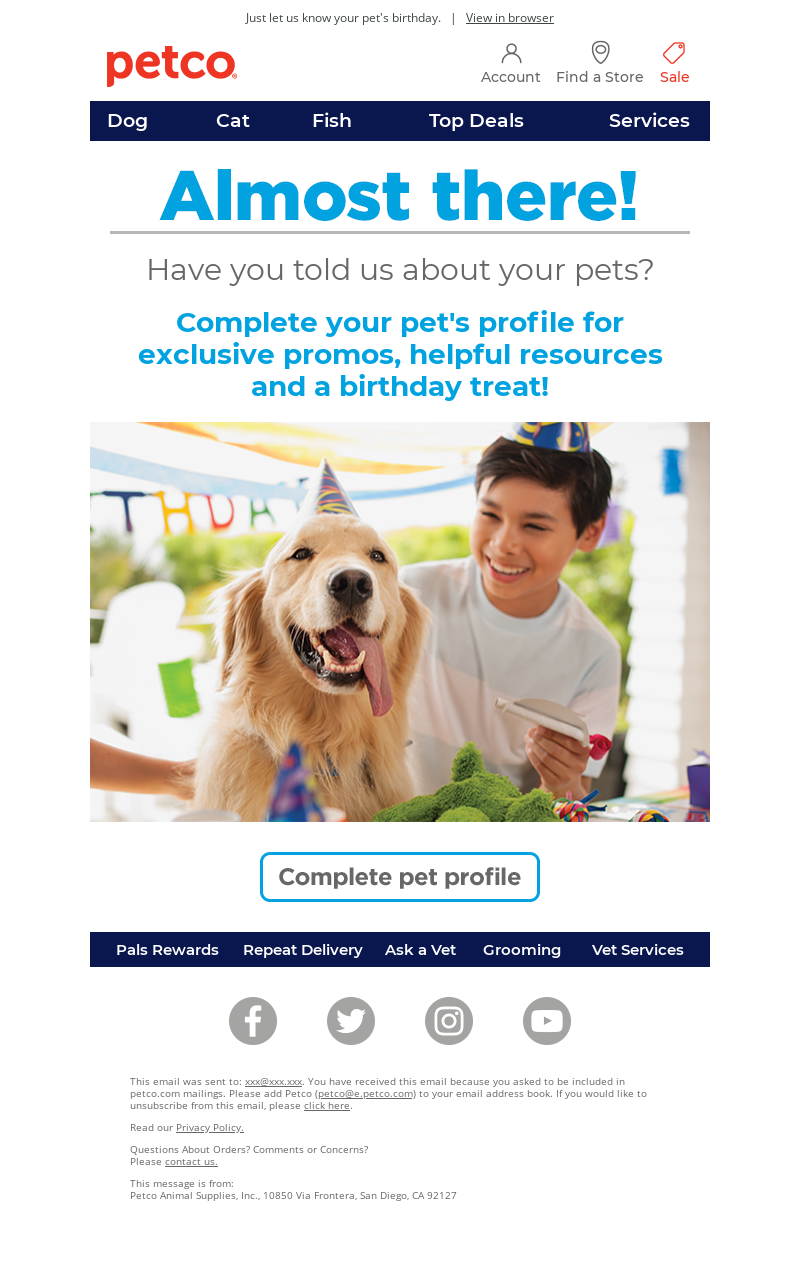Petco - Get a free birthday treat!