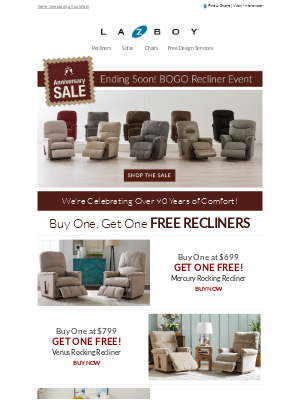 Ends Soon! Buy One, Get One Free Recliners