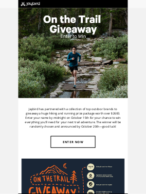 Jaybird - On The Trail Giveaway—Win Over $2600 in Prizes