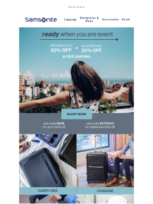 Samsonite - Don't Miss It! Extra 30% Off + Free Shipping