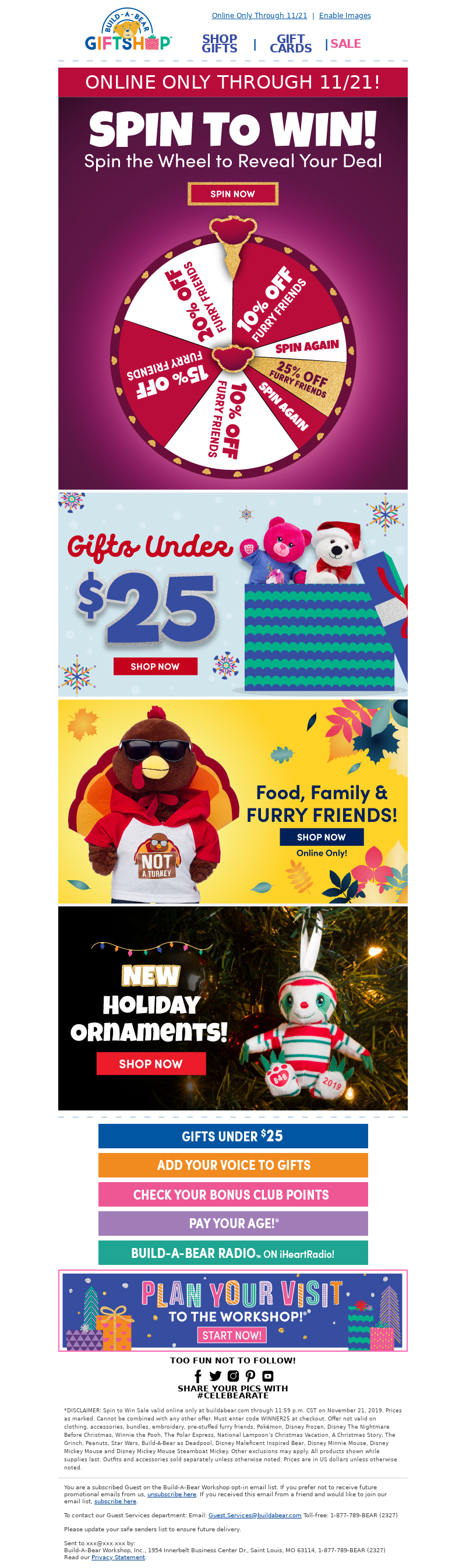 Discount email from Build A Bear with mystery sale