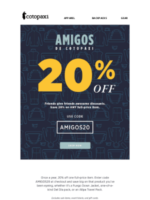 Cotopaxi - Take 20% Off ANY Full-Price Item
