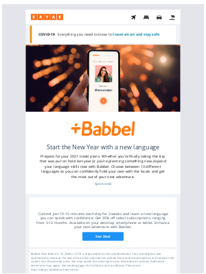 KAYAK - Prepare for 2021 travel with Babbel