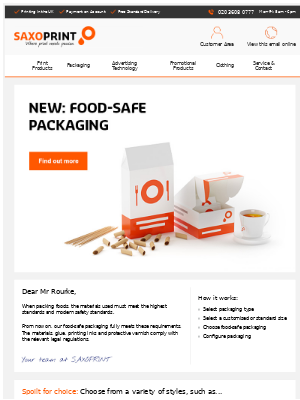 NEW: Food-Safe Packaging