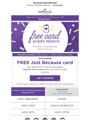 Hallmark - Only 7 days left to get your FREE card!
