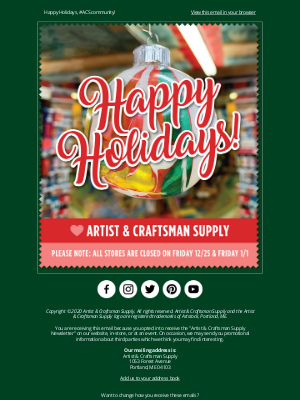 Artist & Craftsman Supply - 🌟 Happy Holidays!