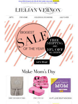 Lillian Vernon - 10% Off Everything + Free Ship is happening NOW