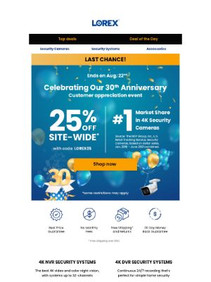 Lorex Technology - Hurry! Our 30th Anniversary Sale is almost over. Don't miss out on 25% site-wide and 30% special savings!