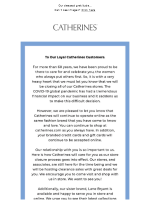 An important update from your friends at Catherines
