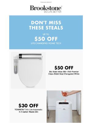 Brookstone - Up to $50 Off Ends Tonight