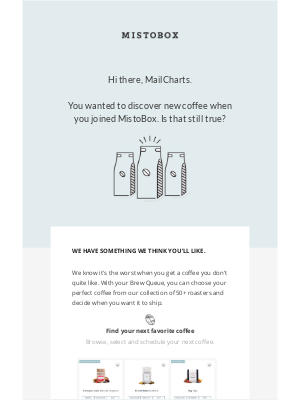 Great Win back email design from MistoBox