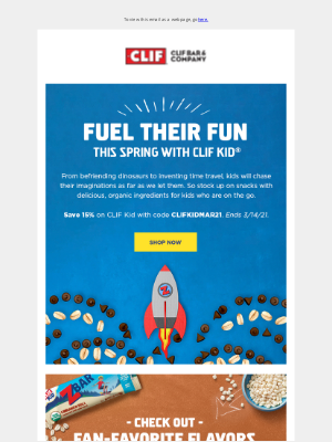 Clif Bar & Co. - Save 15% off CLIF Kid® Snacks This Spring