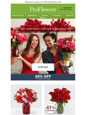 EXTRA 20% OFF ❤️ Valentine's VIP Sale Starts Today!