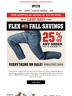 Duluth Trading Company - Last Day - 25% OFF Any Order, Any Size