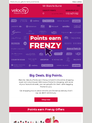 Velocity Frequent Flyer (AU) - Blanche, hurry, for hot offers, bonus Points + more.