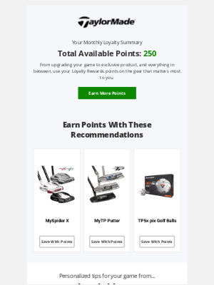 TaylorMade Golf - Your Monthly Points Summary
