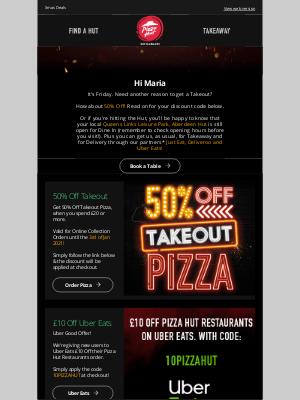 Pizza Hut (UK) - 50% Off at your Queens Links Leisure Park, Aberdeen Hut!