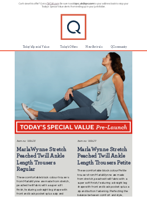 QVC (UK) - See Today's Special Value Pre-Launch: MarlaWynne Stretch Peached Twill Ankle Length Trousers Regular