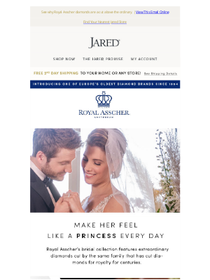 Jared - Honor your love with regal diamonds by Royal Asscher.