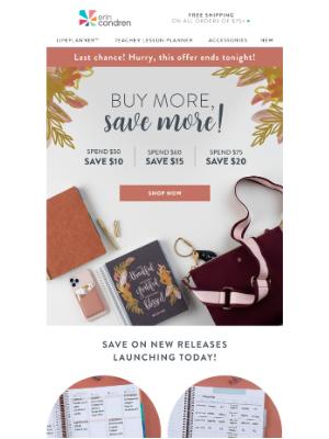 Erin Condren - Final Hours: Buy More, SAVE More