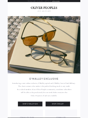 Oliver Peoples - Our new online exclusive is here.