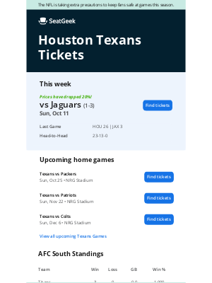 SeatGeek - Texans vs. Jaguars