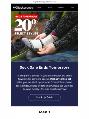 Backcountry - Ends Tomorrow: 20% Off Socks