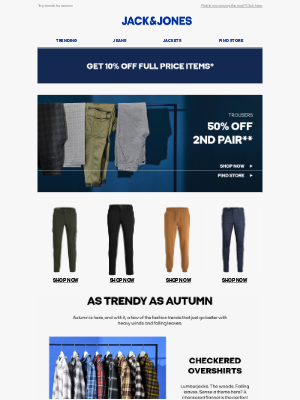 Jack & Jones (UK) - Get 50% off the 2nd pair of trousers