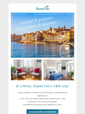 Sweet Inn has just launched in Porto - our 14th city