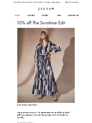 Ends Sunday   10% off Sunshine Edit