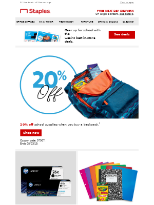 Style + savings: 20% off school supplies when you buy a backpack.
