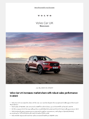 Volvo Cars - [Volvo Car UK News] Volvo Car UK increases market share with robust sales performance in 2020