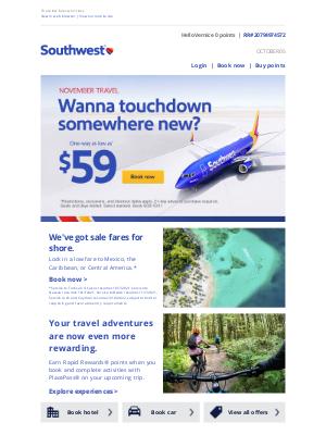 Southwest Airlines - $59 fares. Hustle!