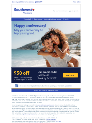 Southwest Vacations - Happy anniversary from your friends at Southwest Vacations