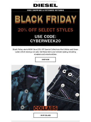 Diesel - For D:CODE – Black Friday Starts TODAY – 20% Off Full Price and Special Collections