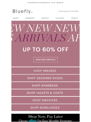 Shop New Arrivals In Designer Shoes, Handbags, Dresses, Sweaters & More