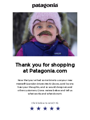 Creative email asking for product review from Patagonia