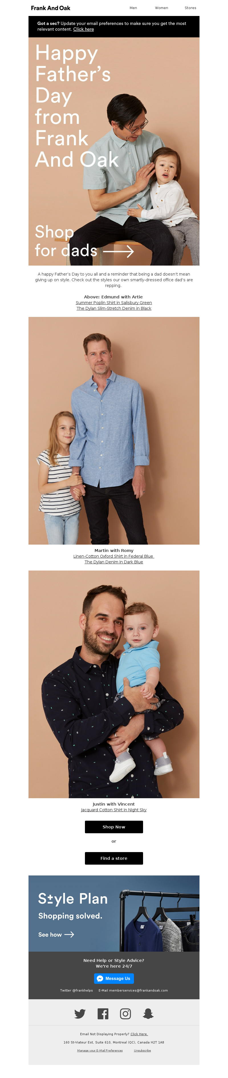 Father's day email example from Frank and Oak