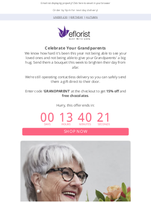 eFlorist (UK) - Last Chance to order for Grandparent's Day
