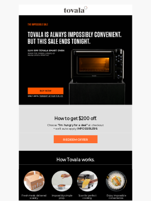Tovala - Today's your last chance. Claim a $99 Tovala Smart Oven.