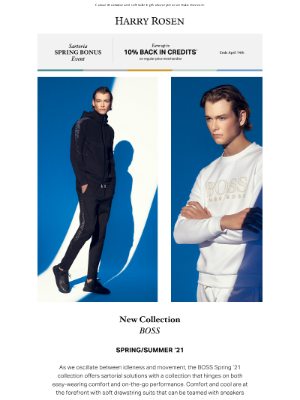 Harry Rosen - Calm & Cool: BOSS Spring/Summer '21