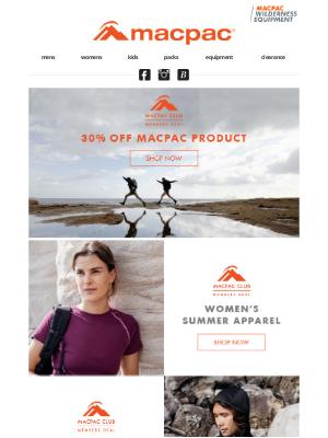 Macpac (New Zealand) - Club deals on summer essentials