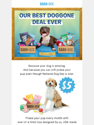 Last chance to get a BarkBox for only $5! Open ASAP to praise your pup