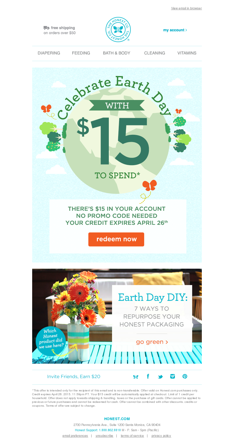 You have $15 in your account to spend at Honest.com - Happy Earth Day! View