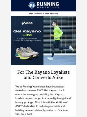 Running Warehouse - The ASICS' Gel Kayano Lite, a Stability Classic in a Lighter, Bouncier Package is here!